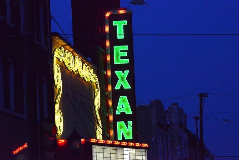 Texan exterior neon at night