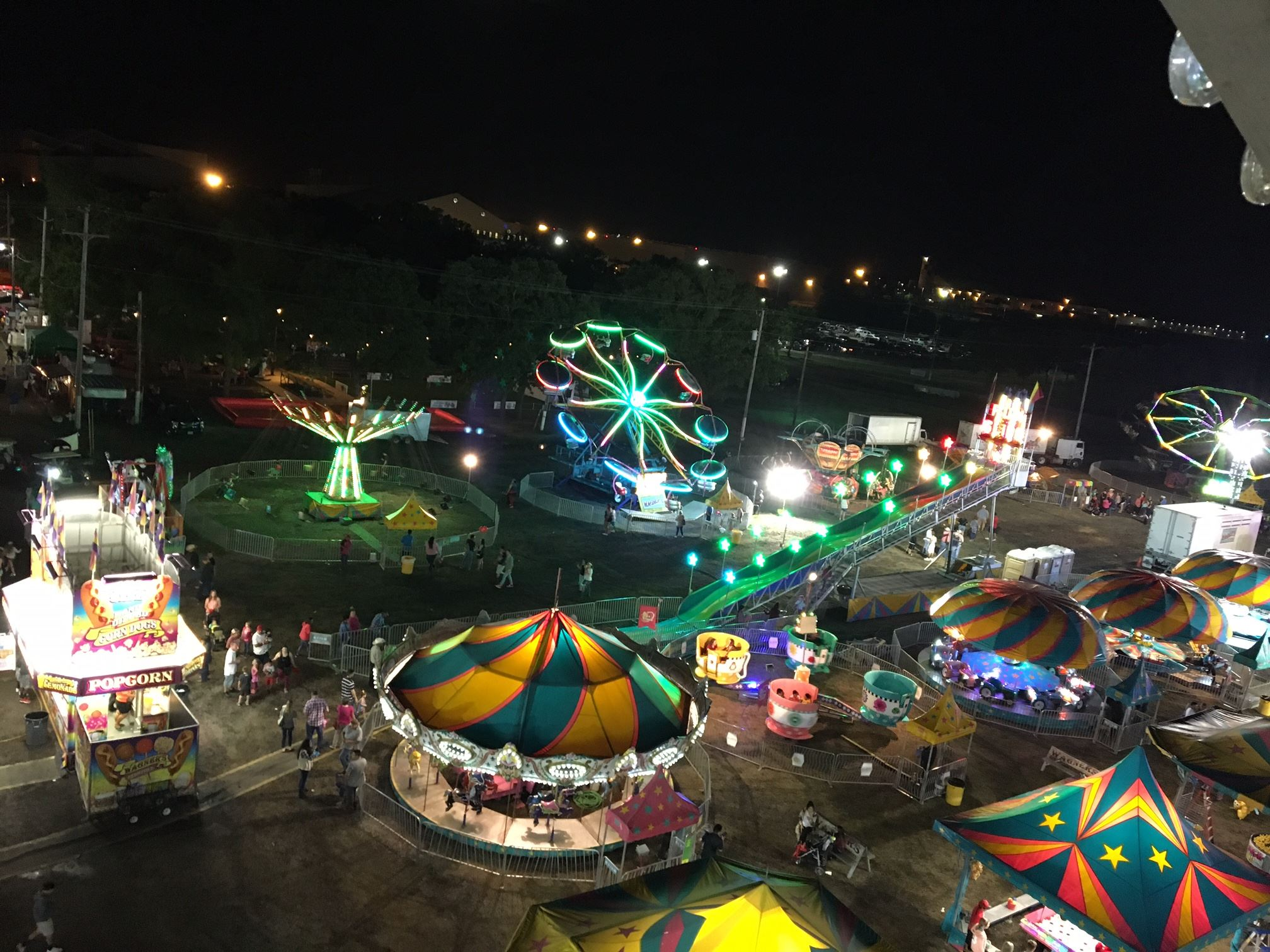 Hunt County Fair midway at night