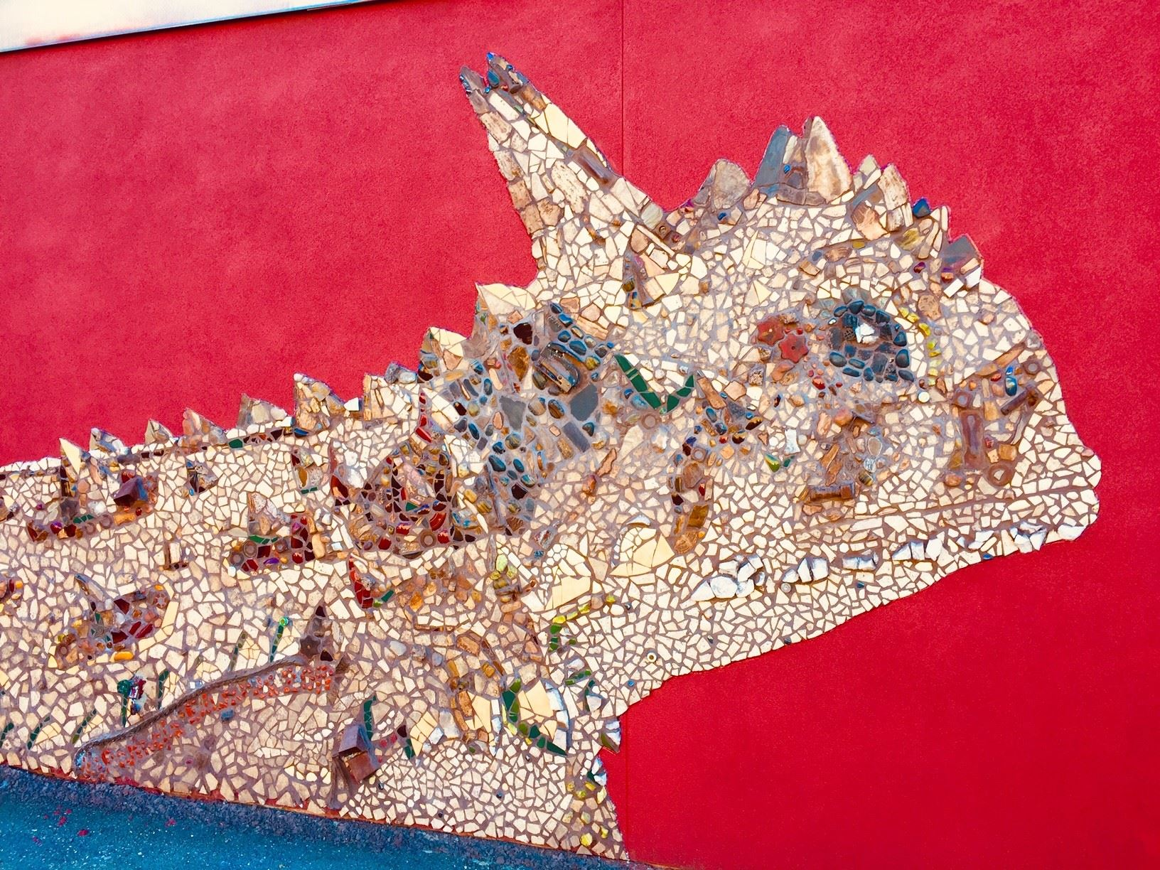"Mosaic Mural of Texas Horned Toad titled ""Horns and All"""
