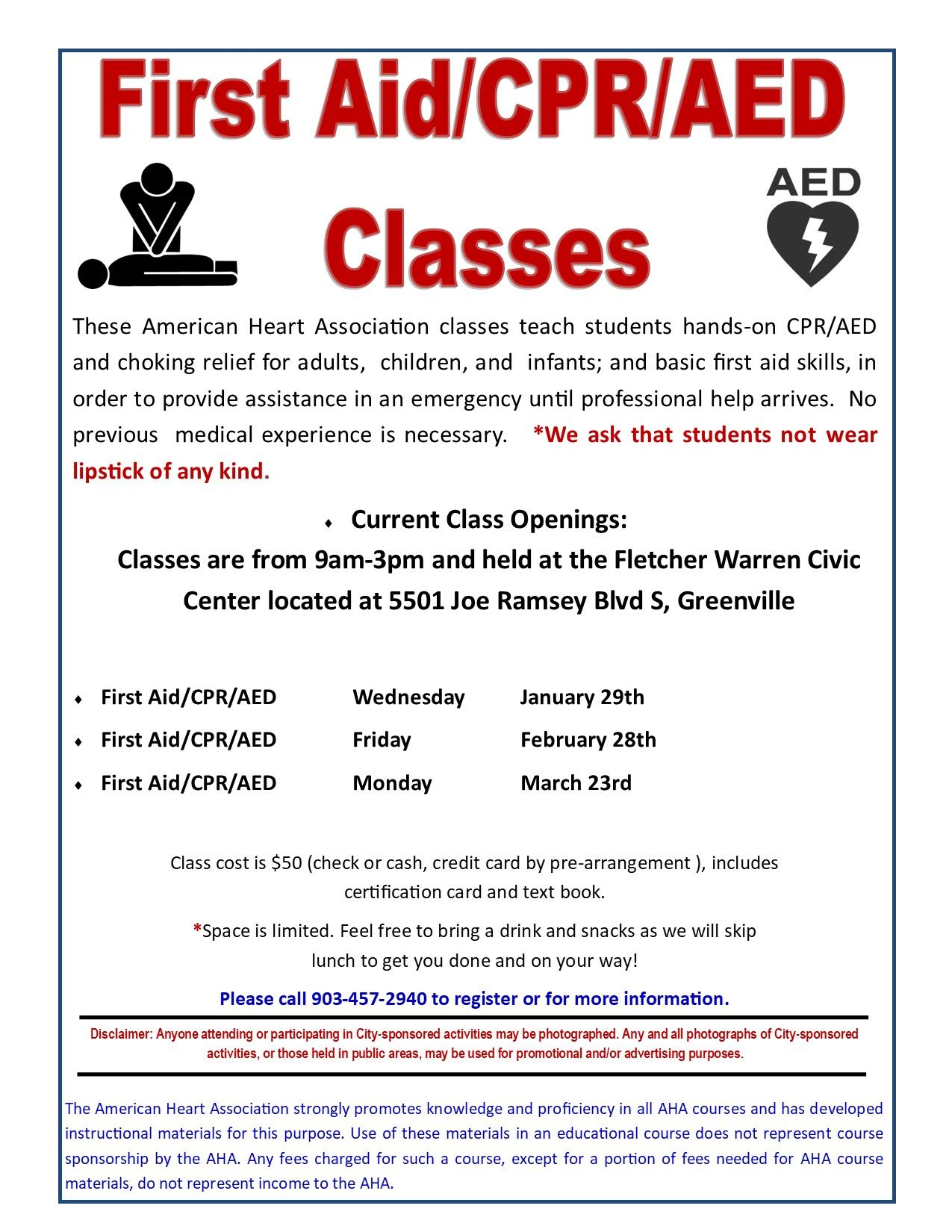 Heartsavers Flier Jan - Mar 2020 CPR/AED/FIRST AID CLASS