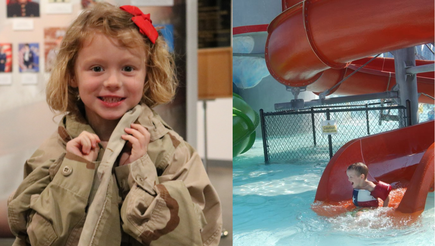 Little Girl trying on soldier uniform and child sliding down a water slide