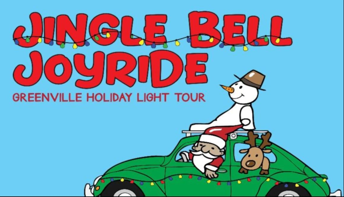 Jingle Bell Joy Ride Logo - Green Car with Christmas lights, Santa, and Snowman