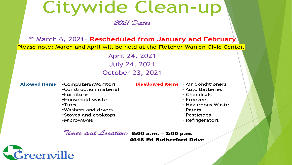 City Wide Clean-up 2021 dates